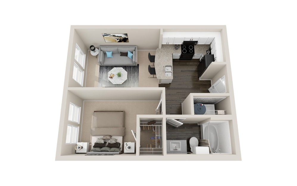 A - 1 bedroom floorplan layout with 1 bath and 560 square feet.