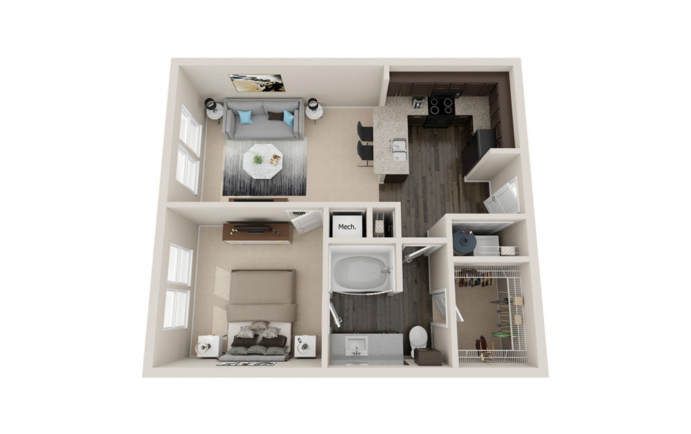A1 - 1 bedroom floorplan layout with 1 bath and 700 to 750 square feet.