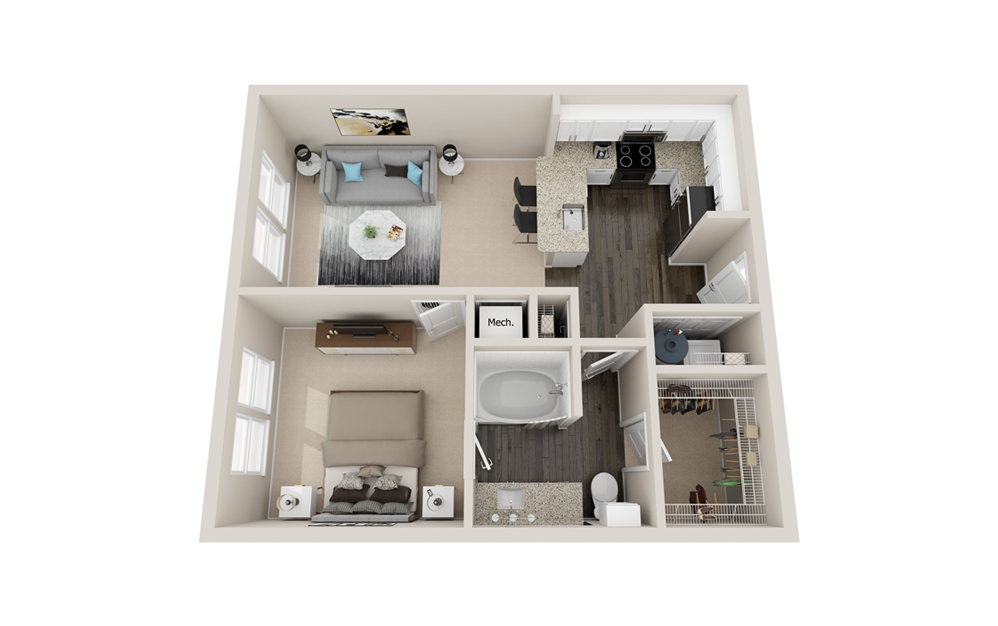 A1P - 1 bedroom floorplan layout with 1 bath and 700 to 750 square feet.