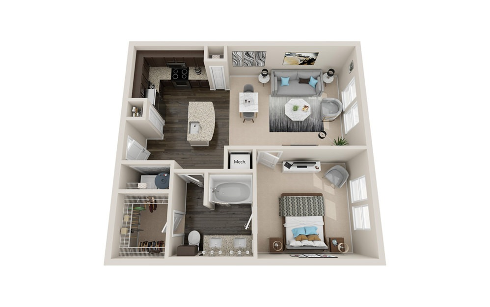A2P - 1 bedroom floorplan layout with 1 bath and 780 to 840 square feet.
