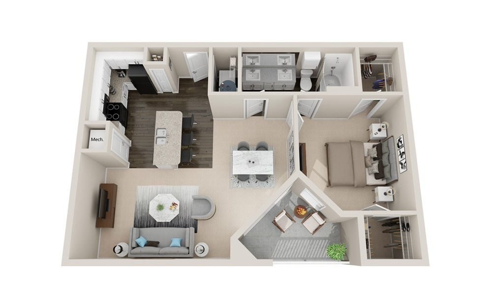 A3 - 1 bedroom floorplan layout with 1 bath and 920 square feet.