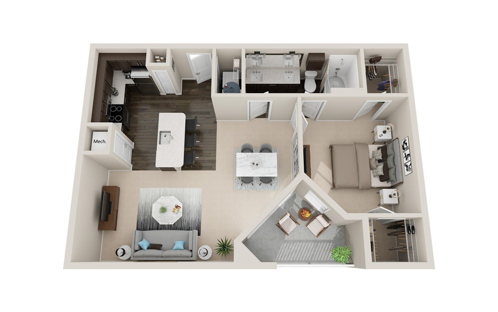 A3P - 1 bedroom floorplan layout with 1 bath and 920 square feet.