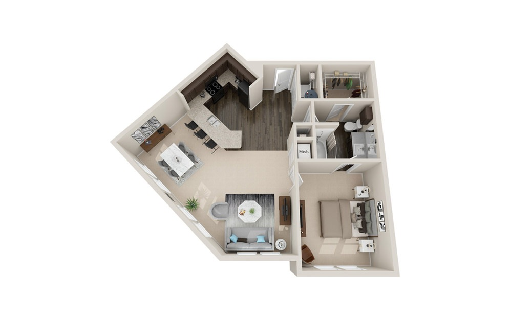 A4 - 1 bedroom floorplan layout with 1 bath and 950 square feet.