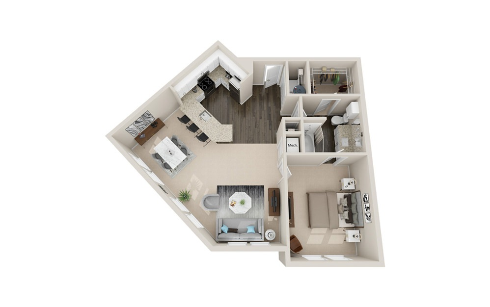 A4P - 1 bedroom floorplan layout with 1 bath and 950 square feet.