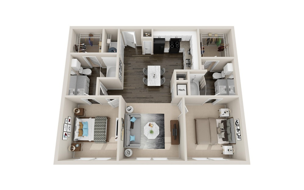 B1 - 2 bedroom floorplan layout with 2 baths and 1010 to 1070 square feet.