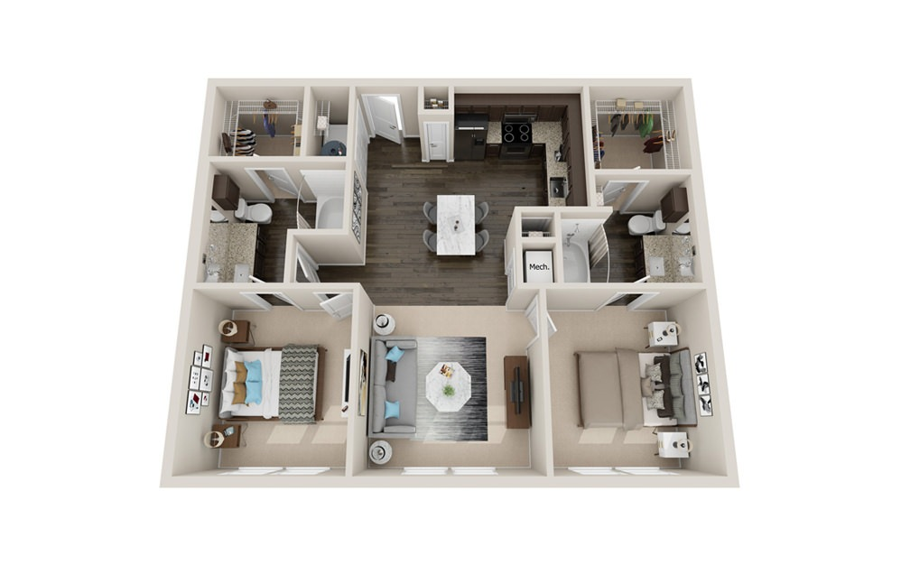 B1P - 2 bedroom floorplan layout with 2 baths and 1010 to 1080 square feet.