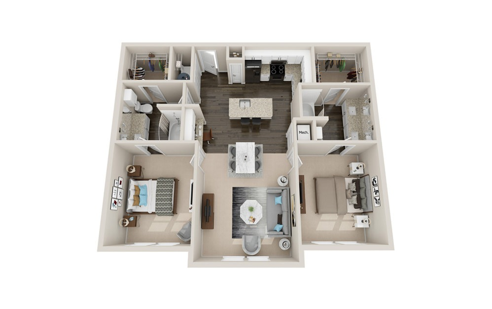 B2P - 2 bedroom floorplan layout with 2 baths and 1180 to 1240 square feet.