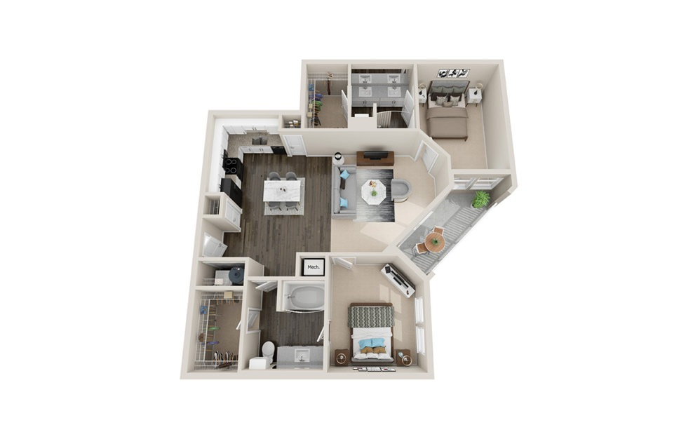 B3 - 2 bedroom floorplan layout with 2 baths and 1260 square feet.