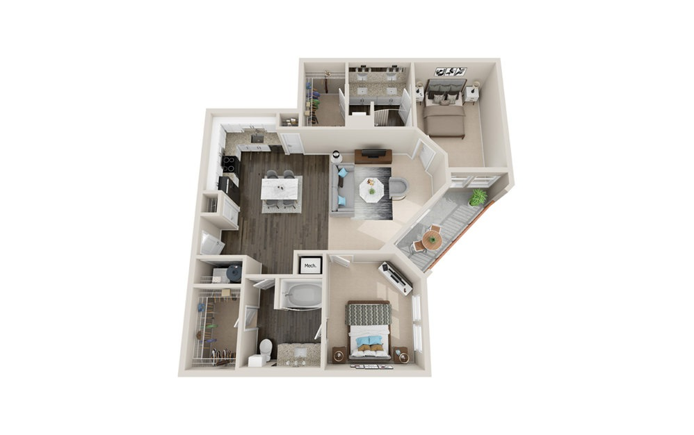 B3P - 2 bedroom floorplan layout with 2 baths and 1260 square feet.