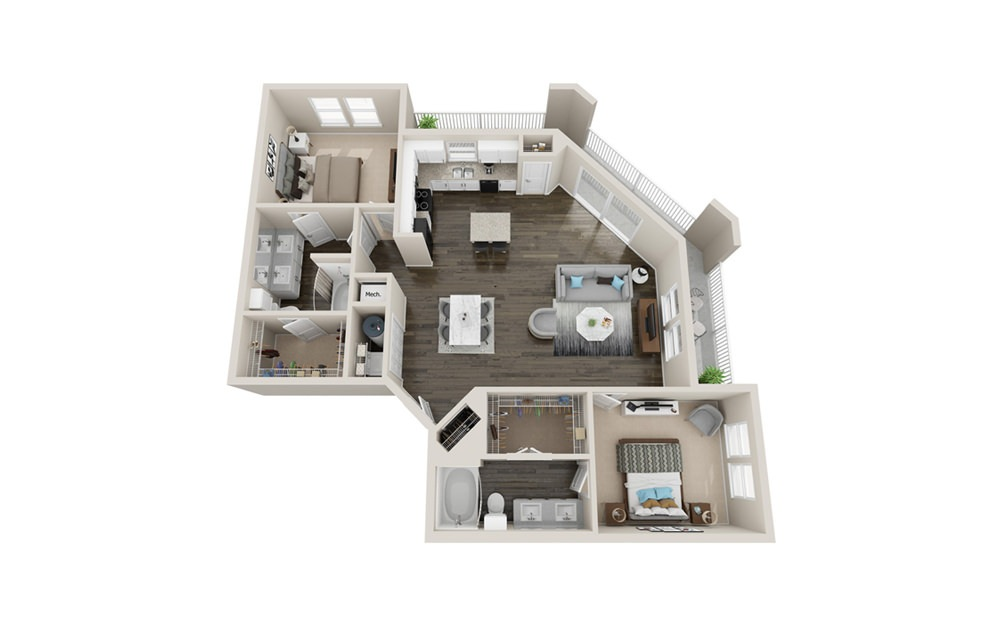 B4 - 2 bedroom floorplan layout with 2 baths and 1560 square feet.