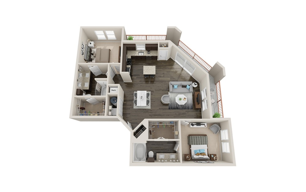 B4P - 2 bedroom floorplan layout with 2 baths and 1560 square feet.