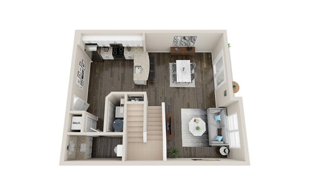 L2P - 1 bedroom floorplan layout with 1.5 bath and 1210 square feet. (Floor 1)