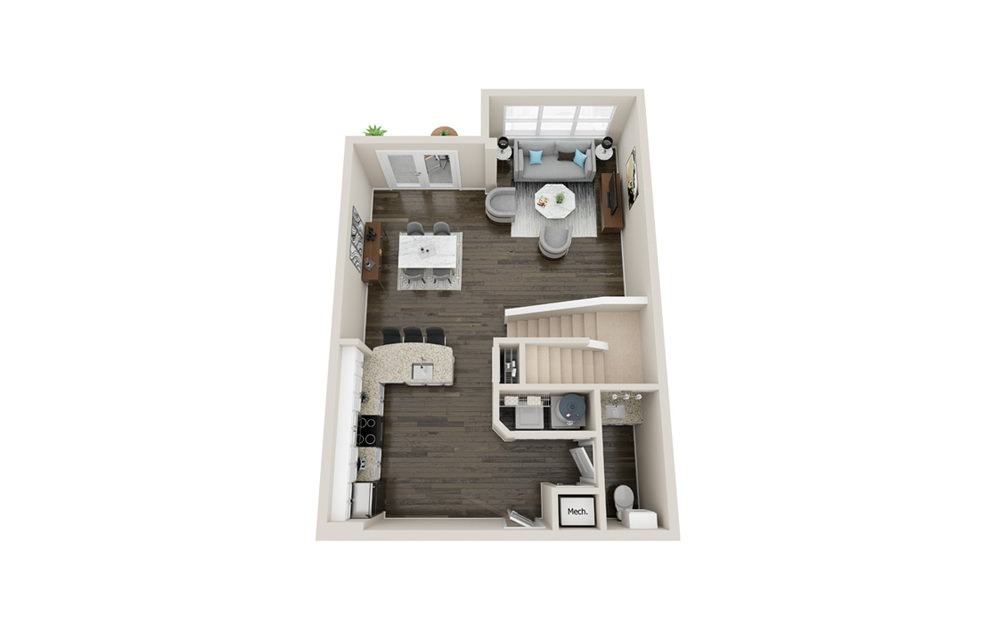 L3P - 1 bedroom floorplan layout with 1.5 bath and 1290 square feet. (Floor 1)